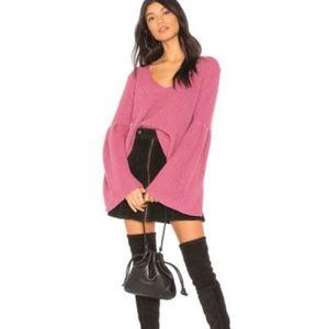 Free People Damsel Pink Bell Sleeve Sweater